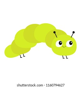 Caterpillar insect icon. Baby collection. Crawling catapillar bug. Cute cartoon funny character. Smiling face. Flat design. Colorful bright green color. White background. Isolated. Vector illustration