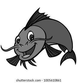Catfish Dinner Illustration - A vector cartoon illustration of a Catfish restaurant mascot.