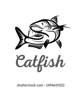 Catfish elegant drawing art logo design template inspiration