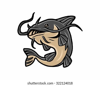 catfish fish seafood animal marine aquatic vector image cartoon character