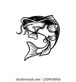 catfish illustration in black and white