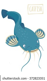 Catfish, vector cartoon illustration