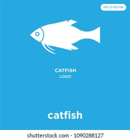 catfish vector icon isolated on blue background, sign and symbol, catfish vector iconic concept