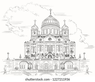 Cathedral of Christ the Saviour (Moscow, Russia) isolated vector hand drawing illustration in black color on white background
