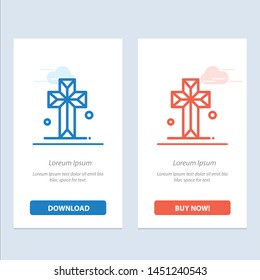 Cathedral, Church, Cross, Parish  Blue and Red Download and Buy Now web Widget Card Template