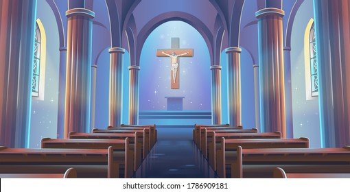 Cathedral Church view inside. Interior of Catholic Church with jesus on the cross. Cartoon vector illustration