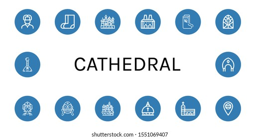 cathedral icon set. Collection of Russian, Valenki, Cathedral of saint basil, National palace of sintra, Stained glass window, Kokoshnik, Faberge, Vatican, Monastery, Russia icons