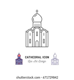 Cathedral icon thin line art symbols, A cathedral is a Christian church, Vector outline illustration