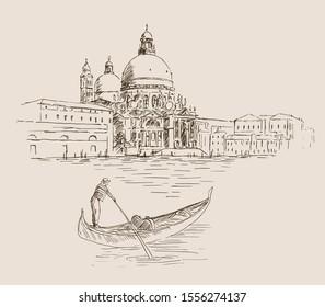 Cathedral of Santa Maria della Salute in Venice, Italy. Hand drawn vector scetch of Venice and gondola