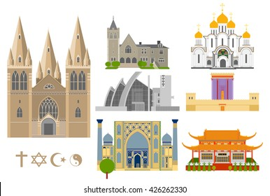 Cathedrals and churches vector infographic set. Religious signs collection. Famous Cathedral flat icons. All religion symbols. Church,  castle,  temple.