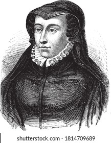 Catherine of Medici, Vintage engraving. From Popular France, 1869.
