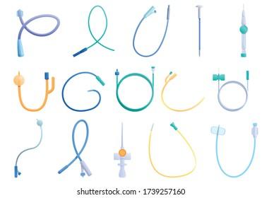 Catheter icons set. Cartoon set of catheter vector icons for web design