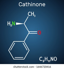 Cathinone, benzoylethanamine, beta-keto-amphetamine, C9H11NO molecule. It is monoamine alkaloid found in the shrub Catha edulis (Khat).  Structural chemical formula on the dark blue background.