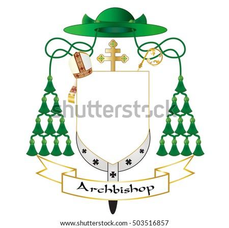 Catholic Archbishop Coat Arms Ecclesiastical Heraldry เวกเตอร์สต็อก