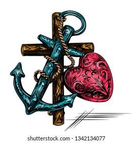 Catholic banner Christian themes. Cross, anchor and heart. Holy symbols. Vector illustratio