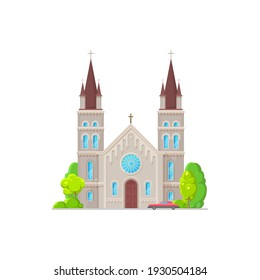 Catholic church building vector icon. Medieval cathedral with gothic steeples, arch and rose windows. Chapel or monastery facade, christian church , architecture exterior with parked car at entrance