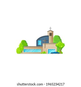 Catholic church building vector icon. Cathedral with parked car, chapel and monastery facade. Modern church design, christian evangelic religious architecture exterior isolated cartoon symbol