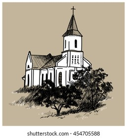 Catholic church on the hill . Vector freehand drawing in vintage style . Trees , shrubs , church .