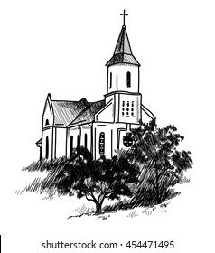 Catholic church . Vector freehand drawing in vintage style . Old church , trees, forest .