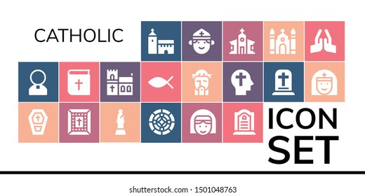 catholic icon set. 19 filled catholic icons.  Collection Of - Church, Priest, Coffin, Bible, Bishop, Stained glass, Nun, Tombstone, Christianity, Jesus, Faith, Gravestone, Pray