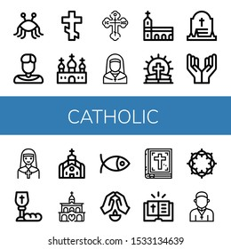 catholic icon set. Collection of Pastafarianism, Priest, Orthodox cross, Church, Nun, Monastery, Bible, Grave, Prayer, Communion, Christianity, Crown of thorns icons