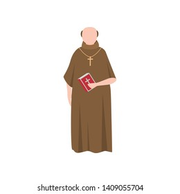 Catholic medieval priest man in long brown clothes