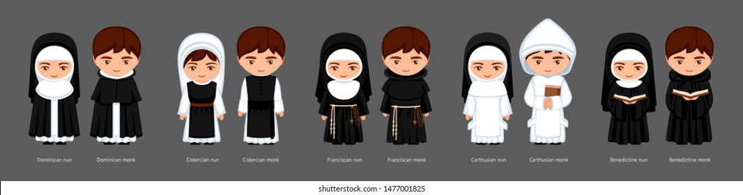 Catholic monks and nuns. Carthusians, Franciscans, Cistercians, Benedictines, Dominicans. Big set of cartoon characters. Vector flat illustration.