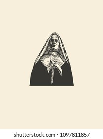 Catholic Nun Praying. Retro Engraving Linocut Style. Vector Illustration