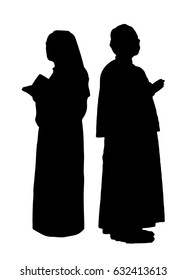 Catholic nun and a priest. Vector silhouettes of christian religious people,