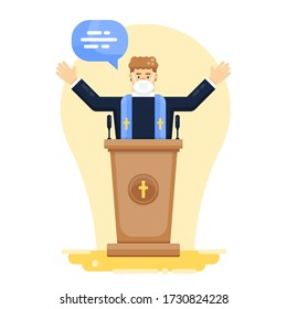 Catholic Pastor, Priest Pray Standing Behind Tribune with Microphones, Arms Spread, Wearing Medical Face Mask to Protect from Virus. Stock Vector Cartoon Illustration.