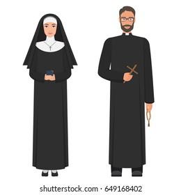 Catholic priest and nun. Flat cartoon vector illustration.
