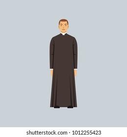 Catholic priest or pastor, representative of religious confession vector Illustration