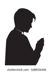 catholic priest in pray vector Illustration