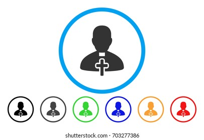 Catholic Priest vector rounded icon. Image style is a flat gray icon symbol inside a blue circle. Bonus color versions are gray, black, blue, green, red, orange.