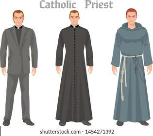 catholic priest in vestment, flat illustration
