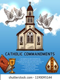 Catholic religion ten commandments. Church, doves symbols of peace, holy book and gold goblet with cross, mitre hat of pope. Religious attributes vector, fundamental duties to God and neighbor