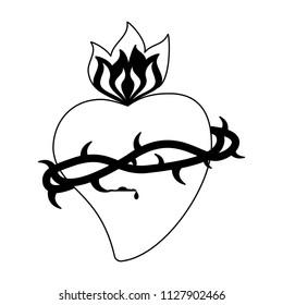 Catholic sacred heart in black and white