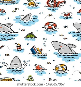 Catoon Summer Sea Background for Kids. Vector Seamless Childish Pattern with Doodle Cute Shark Smiling Characters and Various Objects and Food Floating or Sinking in Water