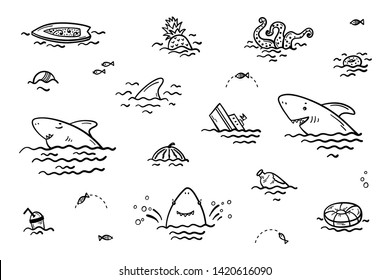Catoon Summer Sea Icons. Cute Shark Smiling Characters with Various Objects and Food Floating or Sinking in Water Vector Set for Kids Fashion, Nursery, Scandinavian Print or Poster. Coloring page