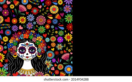 Catrina Dia de los muertos. Day of the dead and Halloween. Mexican tradition, festival. Day of the dead Woman make up of sugar skull. Calavera Catrina isolated. Dia de los Muertos tattoo background.