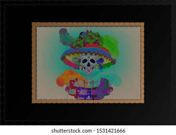 Catrina La Calavera. Catrina is a character of the mexican popular culture that represent the death and is part of the collective imaginary that refers to the celebration the Day of the Dead, vintage