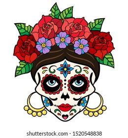 Catrina La Calavera, Dia de los muertos, Day of the dead, woman Sugar skull. Vector illustration isolated on white background.