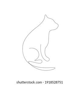 Cats animal line drawing, vector illustration