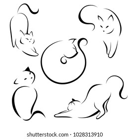 Cats, black lines. Linear design. Cats, vector illustration.cat