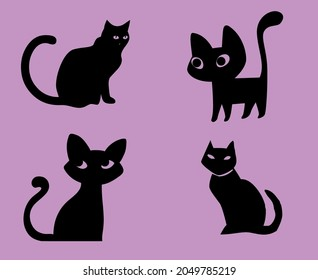 Cats Black Objects Signs Symbols Vector Illustration With Purple Background