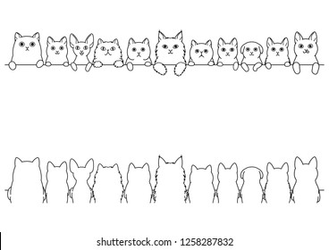 cats border set, front side and back side