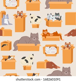 Cats in cardboard transportation boxes cartoon seamless pattern vector illustration. Cute kittens and cats looking out of box background for domestic animals petshop.