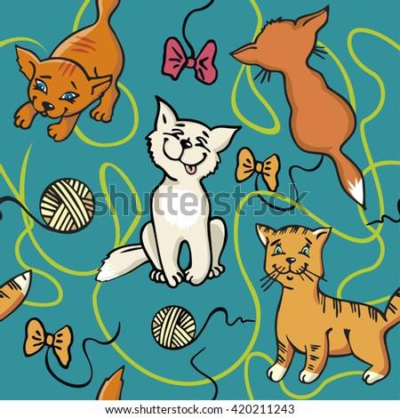 Cats Cartoon Vector Seamless Wallpaper Kittens Stock Vector Royalty
