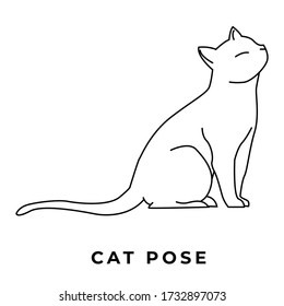 cats, cat hand drawn icon vector set line art illustration, cat vector illustration, animals vector illustration with adorable white kitties.