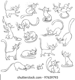 Cats collection - only contour, vector